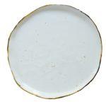 Farfurie întinsă din porțelan realizată manual – Stardust alb